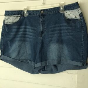Cato denim and crochet trim plus size shorts 24W